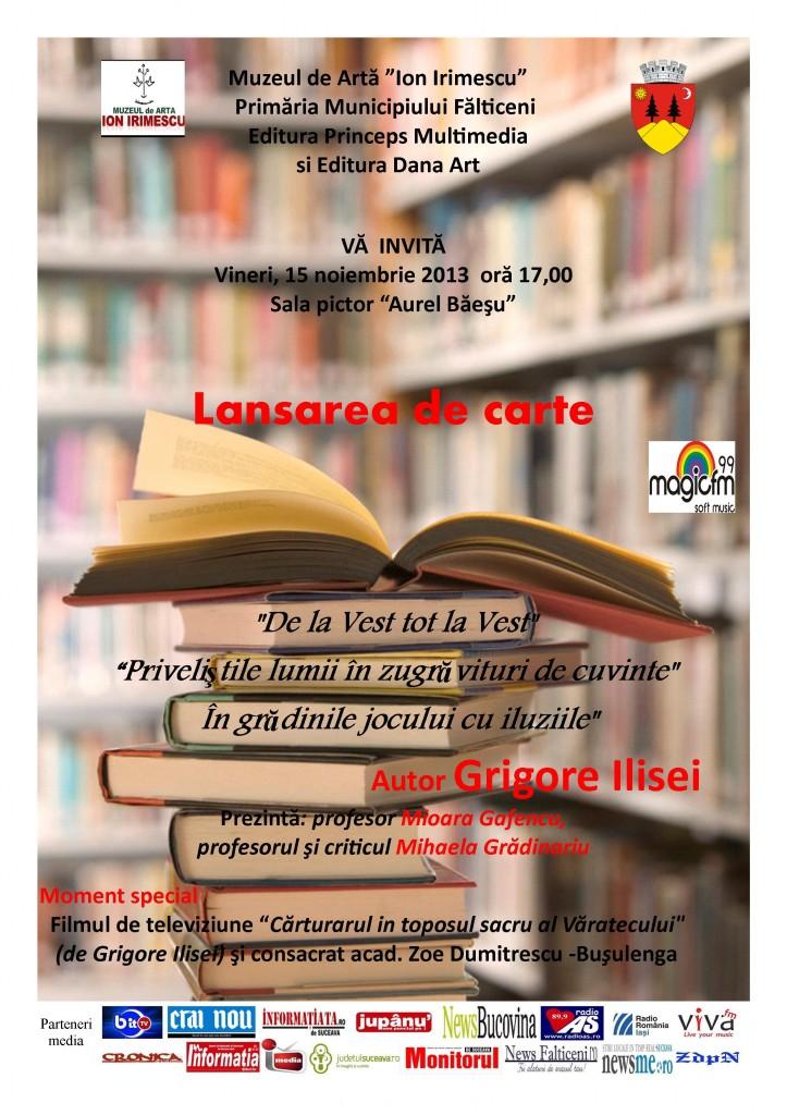Lansare de carte Grigore Ilisei -Afis-15.11.2013