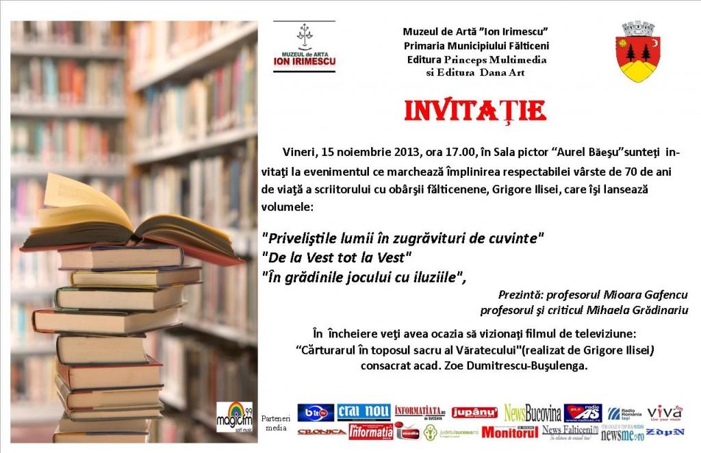 Lansare de carte Grigore Ilisei-Invitatie-15.11.2013