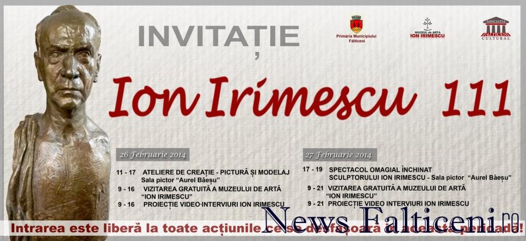 Falticeni-Invitatia evenimentului-Ion Irimescu 111-26.27 februarie 2014