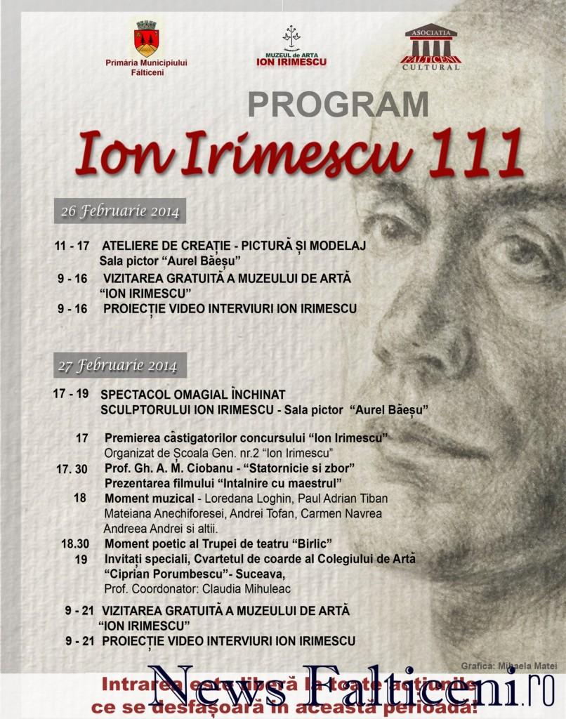 Falticeni-Programul evenimentului-Ion Irimescu 111-26.27 februarie 2014