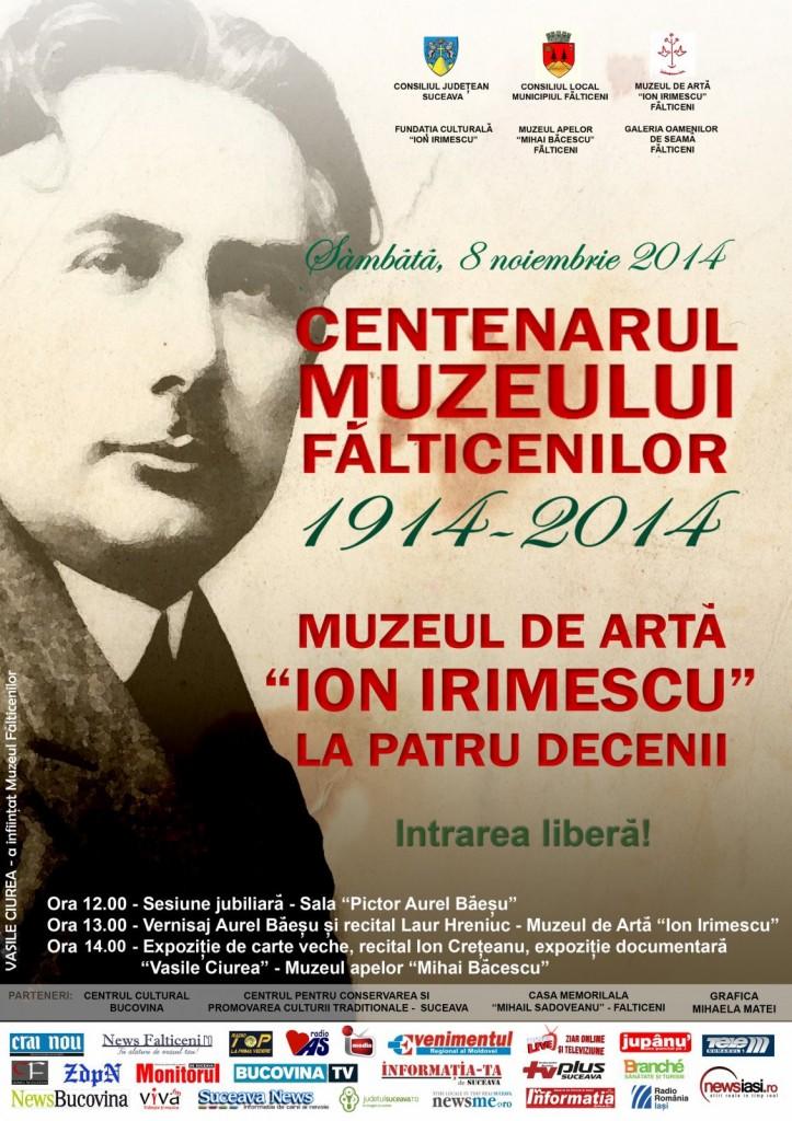Falticeni -Afis--CENTENARUL MUZEULUI Fu0102LTICENILOR- 8.11.2014