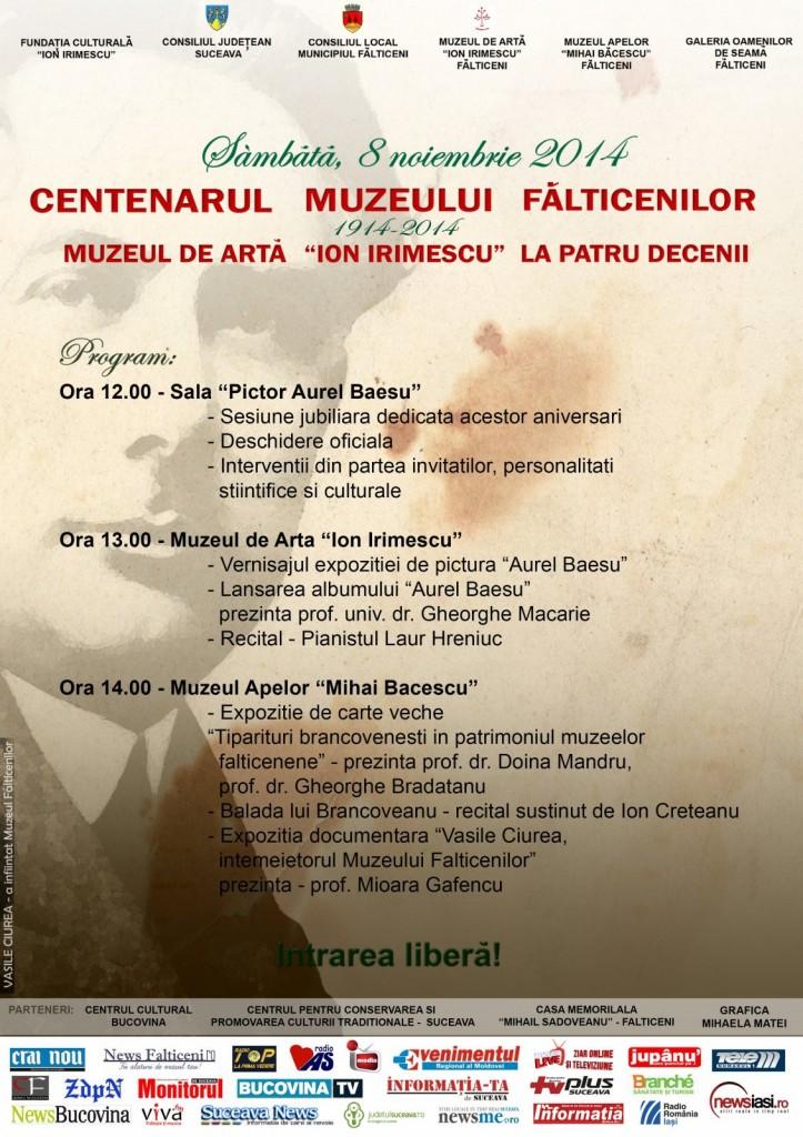 Falticeni -Program--CENTENARUL MUZEULUI Fu0102LTICENILOR- 8.11.2014